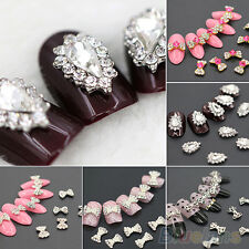 10X Fashion 3D Glitters Rhinestone Alloy Bowknot DIY Decal Nail Art Tip Stickers