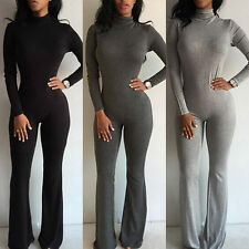Sexy Womens Ladies Turtleneck Long Sleeve Slim Jumpsuit Bodysuit Bodycon Rompers