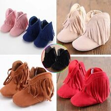 Infant Toddler Boy Girls Easeful Soft Soled Fringe Tassel Boots 0-18M Baby Shoes
