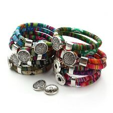 Bracelet Cotton Core Cords Tibetan silver Flower Snap button bracelet jewelry fo