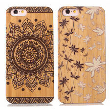 Colorful Real Natural Carved Bamboo Wood Wooden Hard Case Cover For iPhone 6 6S