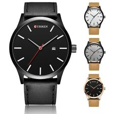 Mens Fashion Stainless Steel Leather Sports Watch Analog Quartz Wrist Watch Date