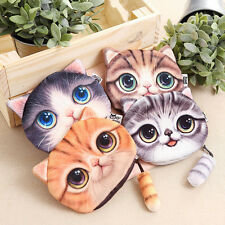 New Fashionable  Ladies Cute Cat Face Animal Coin Purse Wallet Mini Zipper Bag