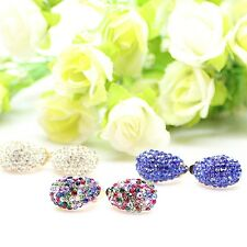 Earring Gold Plated Clip-On Vintage 3 Colors Colorful Crystal Rhinestone Jewelry