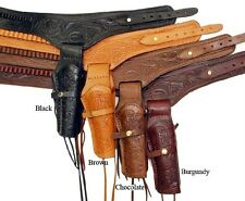 WESTERN COWBOY STYLE Genuine Cowhide Leather DOUBLE HOLSTER PISTOL CASE BELT New