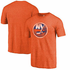 New York Islanders Distressed Team Primary Logo Tri-Blend T-Shirt - Orange - NHL