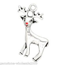 "Wholesale W09  Silver Tone Christmas Reindeer Charms Pendants 24x21mm(1""x7/8"")"