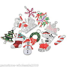 Wholesale W09  Mixed Silver Plated Enamel Christmas Charms Pendants