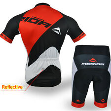 Merida Road Bike Clothing Cycling Set Reflective Cycle Jersey Shorts Kit Red
