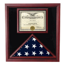 Flag display cases with certificate holder Hand Made By Veterans
