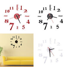 Modern Art DIY Large Wall Clock 3D Sticker Design Home Office Room Decor New WB