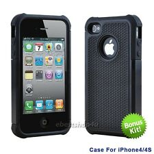 2 Colors Silicone Gel Rubber Combo Hard Soft Cover Case Skins For iPhone 4 4S