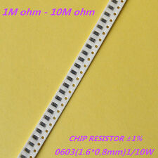 100pcs 0603 1% SMD Chip Resistors 1/10W 0.1W SMT Resistance 1MR to 10MR - RoHS