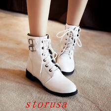 Punk Women Lady Low Heel lace Up Ankle Boots Buckle Hot Sale Shoes Size Fashion