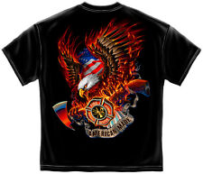 Firefighter T-Shirt Patriotic Fire Eagle American Made - Black