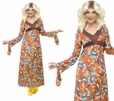 Woodstock Maxi Dress Ladies Hippy 1960s Hippie Fancy Dress Costume 8-22