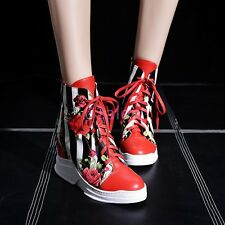 Womens Girls High Top Lace UP Flower Wedge Heel Ankle Boots Sneaker Size EU34-43