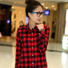 Womens campus plaid check shirt long sleeve flannel button down blouse top CASW