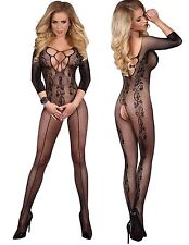 Ultra Sexy Bodystocking Black Amani Crotchless Open Crotch Livco Corsetti