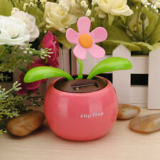 1x Flip Flap Solar Powered Flower Flowerpot Swing Car Dancing Toy Gift Home FM