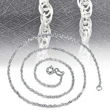 """Solid 925 Sterling Silver Singapore Twist Wave Chain Necklace Italy 16""""-18"""" GS"""