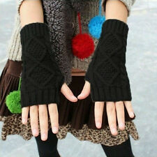 Soft Women Winter Wrist Arm Hand Warmer Knitted Long Fingerless Gloves Mitten