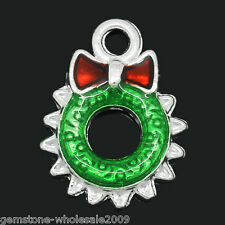 Wholesale Lots Charm Pendants Enamel Christmas Wreath Silver Plated 18mmx13mm