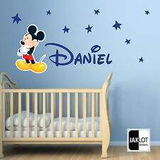 MICKEY MOUSE & PERSONALISED NAME Vinyl Wall Decal FREE Stars DISNEY