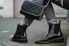 Last! NWT ZARA BLACK MICRO-STUDDED FLAT LEATHER BOOTIES ANKLE BOOTS REF 5153/001