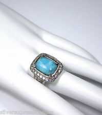 Rare AAA Genuine Dominican Larimar & 925 Sterling Silver Cocktail Ring size 8