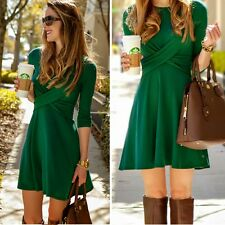 Women Draped Cross Front Pleated Dress Evening Party Cocktail 3/4 Sleeve Dress