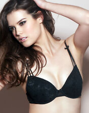 Figleaves Padded Plunge Black Bra Lace Overlay Underwire Size 38D
