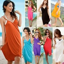 Sexy Deep V-Neck Swimwear Bikini Cover Up Open-Back Beach Wear Shirt Dress