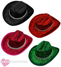 12 X MINI TINSEL COWBOY HAT WILD WESTERN COWGIRL HEN PARTY HOLIDAY CHOOSE COLOUR