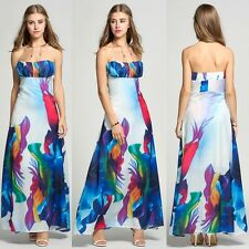 Women Fashion Sexy Strapless Off Shoudler Floral Evening Party A-Line Maxi Dress