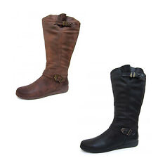 Spot On F50330 Ladies Knee High Boots In Black or Brown UK Sizes 3 - 8 (R6A)