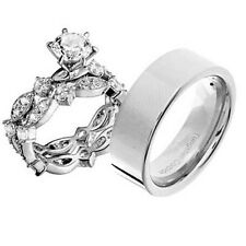 His and Hers Wedding Rings 3 pcs Engagement CZ Sterling Silver Tungsten Set BV