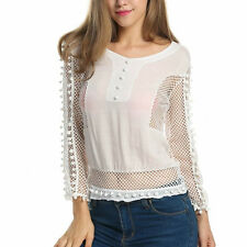 Womens Hollow Mesh Sheer See Through Sexy Lady Long Sleeve T Shirt Top blouse