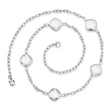 925 Sterling Silver Cushion Shape White Topaz Station Necklace