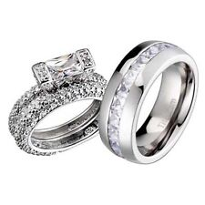 His and Hers Wedding Rings 3 pcs Engagement CZ Sterling Silver Titanium Set CM