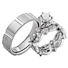 His and Hers Wedding Rings 3 pcs Engagement CZ Sterling Silver Titanium Set CG