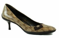 GUCCI 317043 Crystal Canvas GG Guccissima Bow Tie Pumps 37.5 US7.5