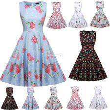 Women Vintage Style Print Sundress Swing Hem  Party Club Casual Pleated Dress FT