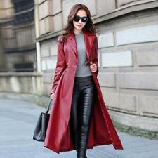 Womens ladies  Full Length Long Trench Windbreaker Lapel Leather Coat Jacket
