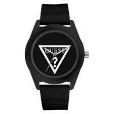 Guess W65014L2 Womens Black Dial Analog Watch with Leather Strap
