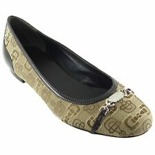 GUCCI 256342 Horsebit Canvas Metal Logo Ballet Flats 38.5 US8.5
