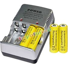 4 AA battery batteries Bulk Rechargeable NI-MH 3000mAh 1.2V Yel + Smart Charger