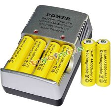 6 AA battery batteries Bulk Rechargeable NI-MH 3000mAh 1.2V Yel + Smart Charger