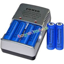 6 AA battery batteries Bulk Rechargeable NI-MH 3000mAh 1.2V Blu + Smart Charger