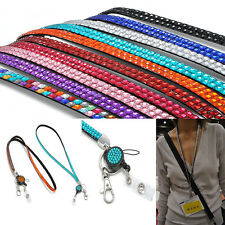 10 Colors Rhinestone Hot Neck Lanyard Retractable Strap ID Badge Reel Key Holder